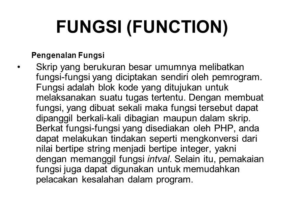 FUNGSI (FUNCTION) Pengenalan Fungsi.