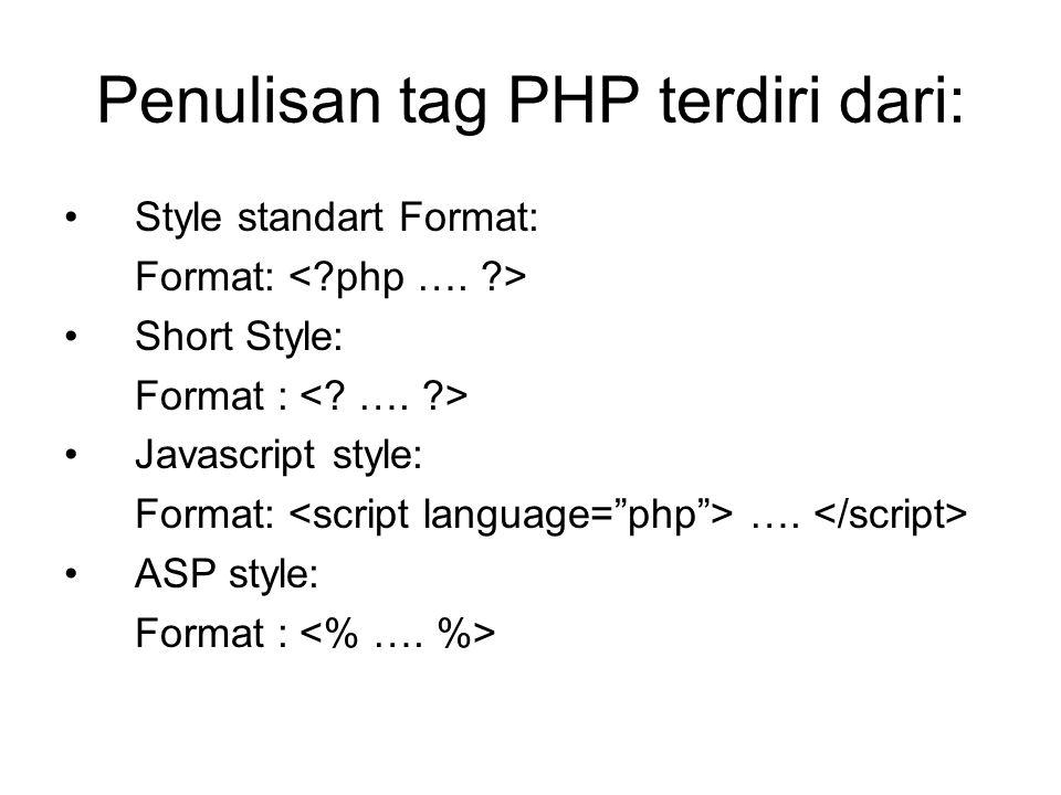 Penulisan tag PHP terdiri dari: