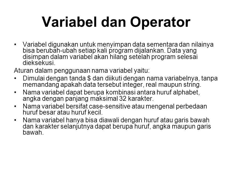 Variabel dan Operator