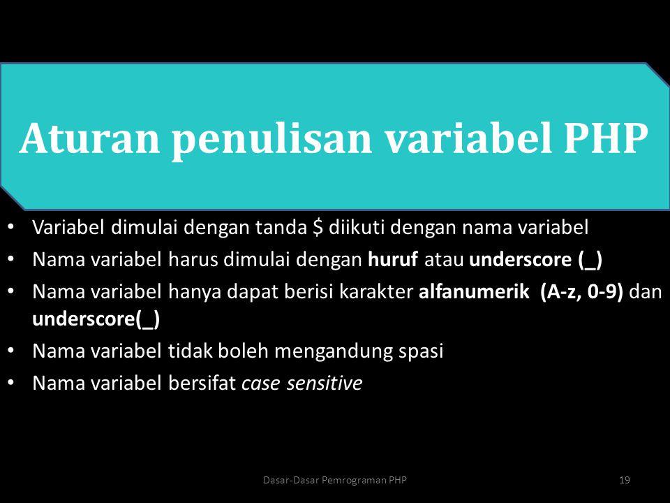 Dasar-Dasar Pemrograman PHP