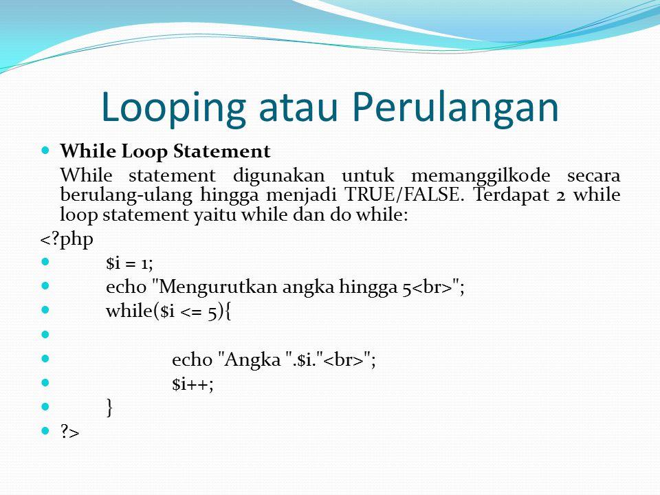 Looping atau Perulangan