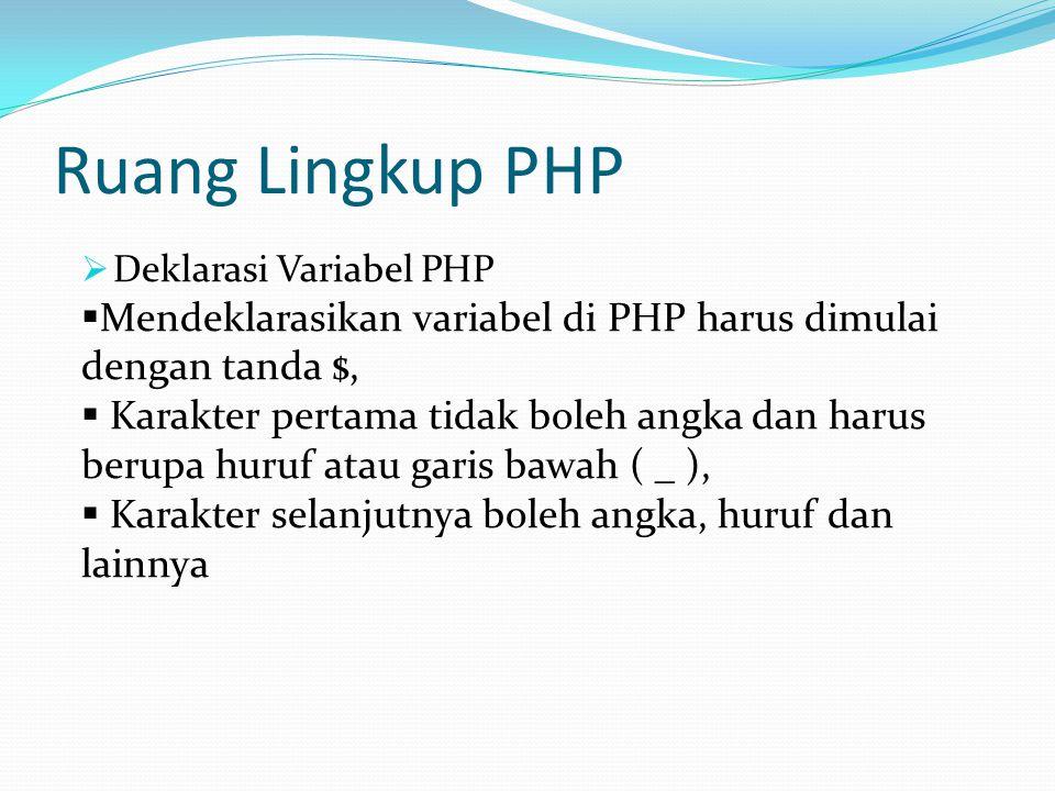 Ruang Lingkup PHP Deklarasi Variabel PHP. Mendeklarasikan variabel di PHP harus dimulai dengan tanda $,