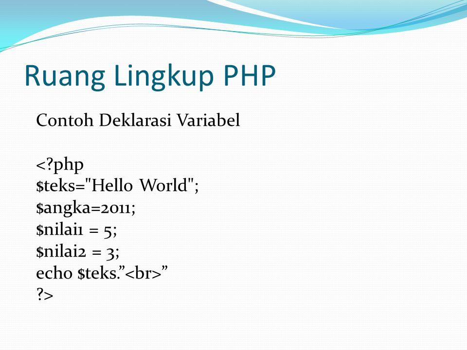 Ruang Lingkup PHP Contoh Deklarasi Variabel