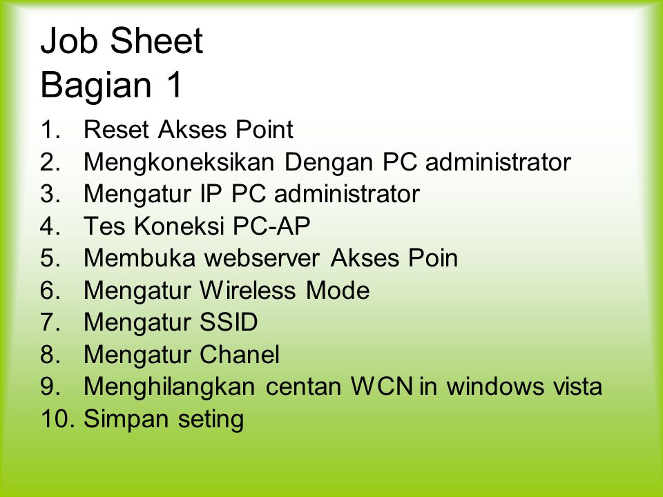 Job Sheet Bagian 1 Reset Akses Point