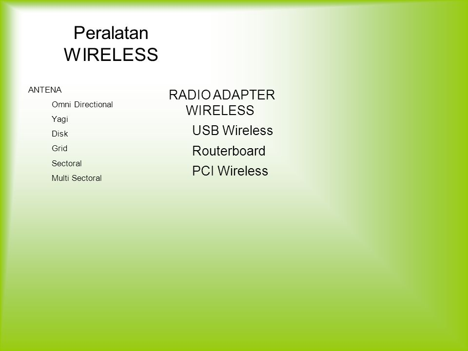 Peralatan WIRELESS RADIO ADAPTER WIRELESS USB Wireless Routerboard