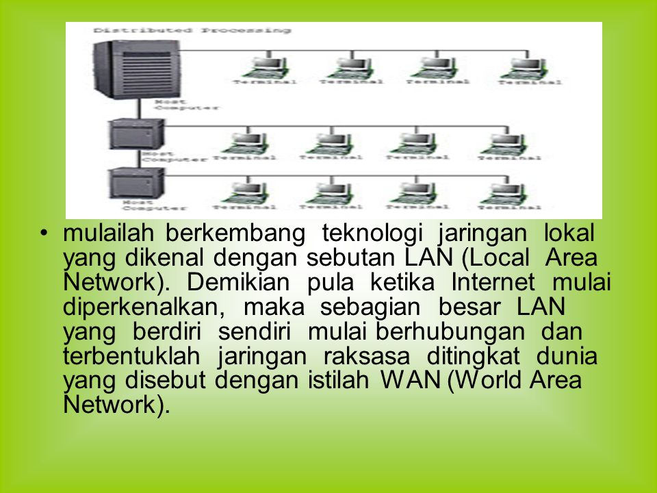mulailah berkembang teknologi jaringan lokal yang dikenal dengan sebutan LAN (Local Area Network).