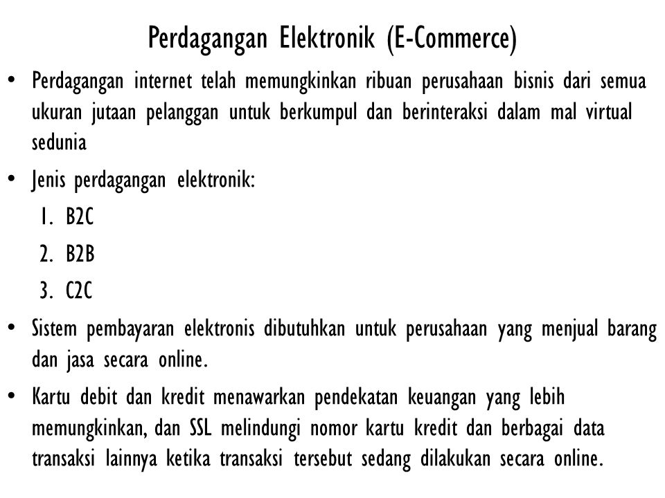 Perdagangan Elektronik (E-Commerce)