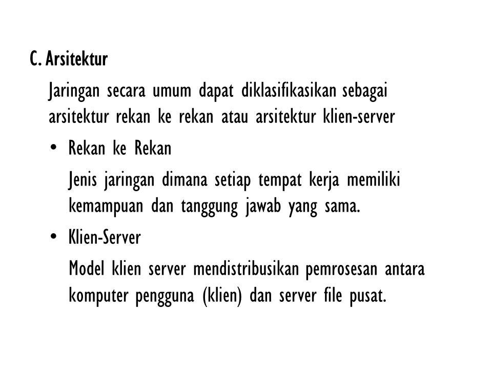 C. Arsitektur Jaringan secara umum dapat diklasifikasikan sebagai arsitektur rekan ke rekan atau arsitektur klien-server.