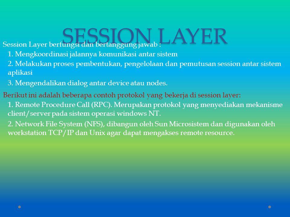 SESSION LAYER Session Layer berfungsi dan bertanggung jawab :