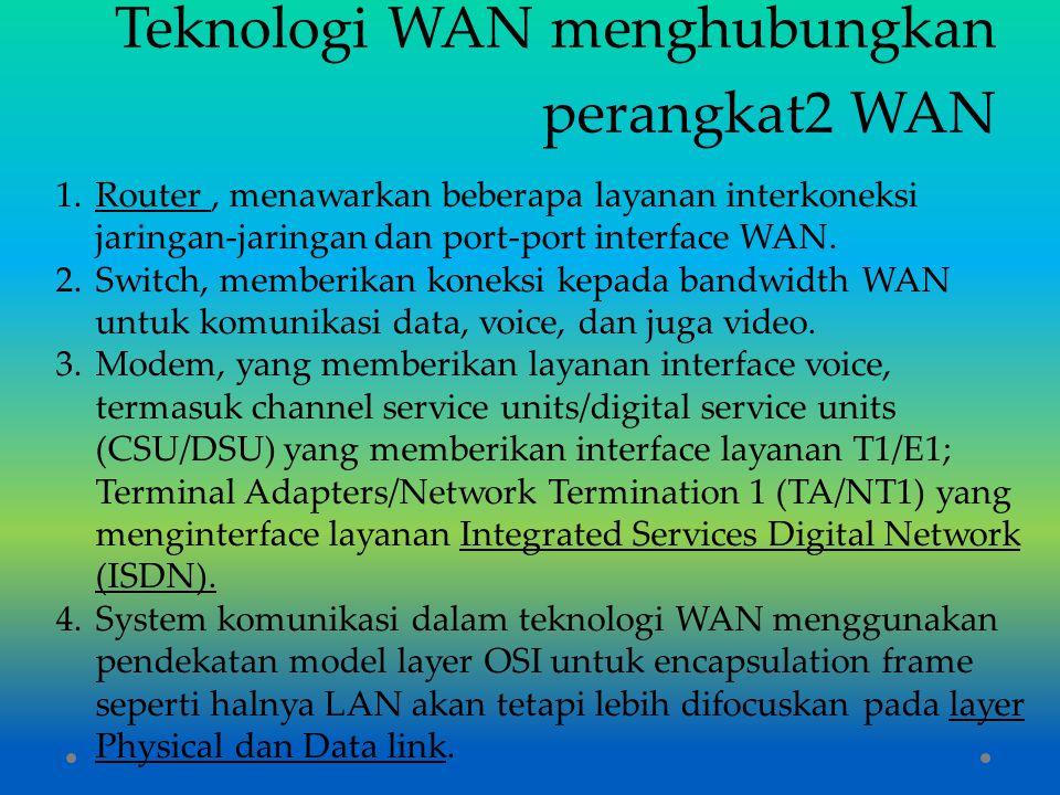 Teknologi WAN menghubungkan perangkat2 WAN