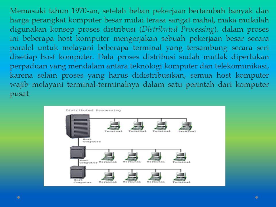 Memasuki tahun 1970-an, setelah beban pekerjaan bertambah banyak dan harga perangkat komputer besar mulai terasa sangat mahal, maka mulailah digunakan konsep proses distribusi (Distributed Processing).