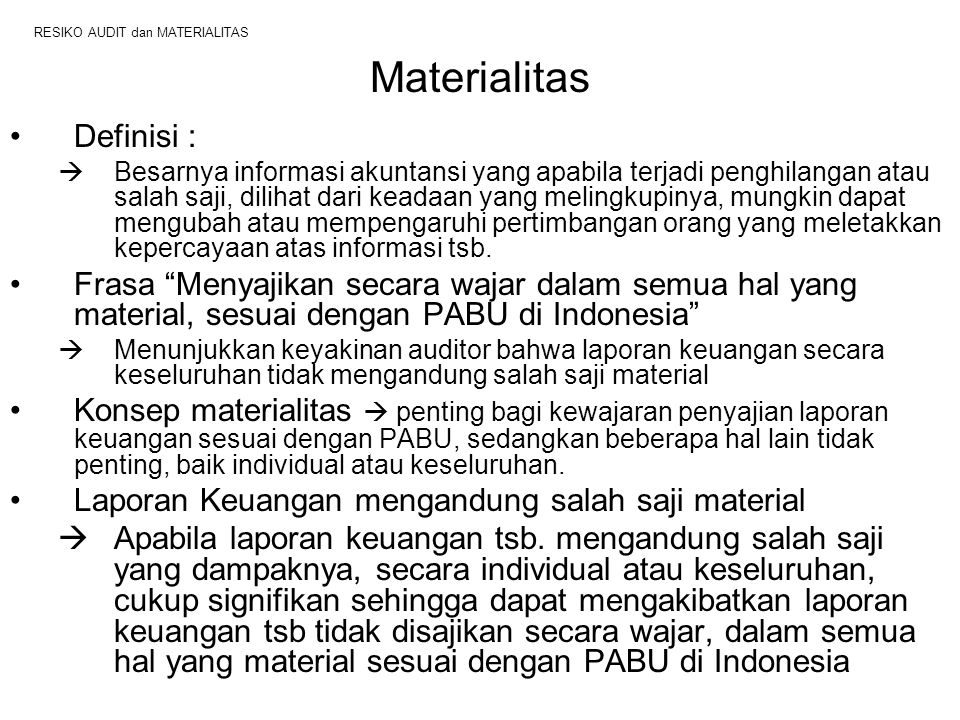 RESIKO AUDIT dan MATERIALITAS