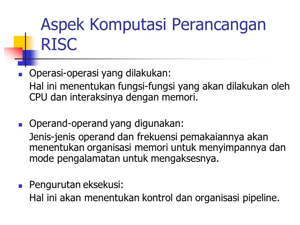 Aspek Komputasi Perancangan RISC