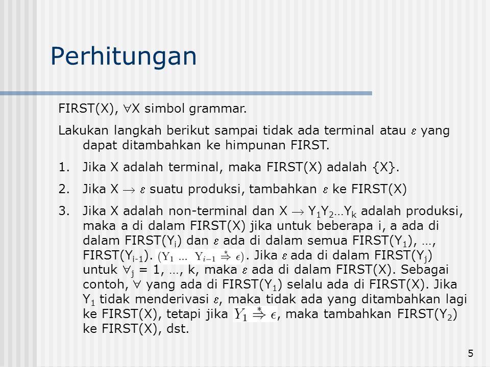 Perhitungan FIRST(X), X simbol grammar.