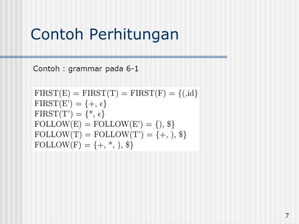 Contoh Perhitungan Contoh : grammar pada 6-1