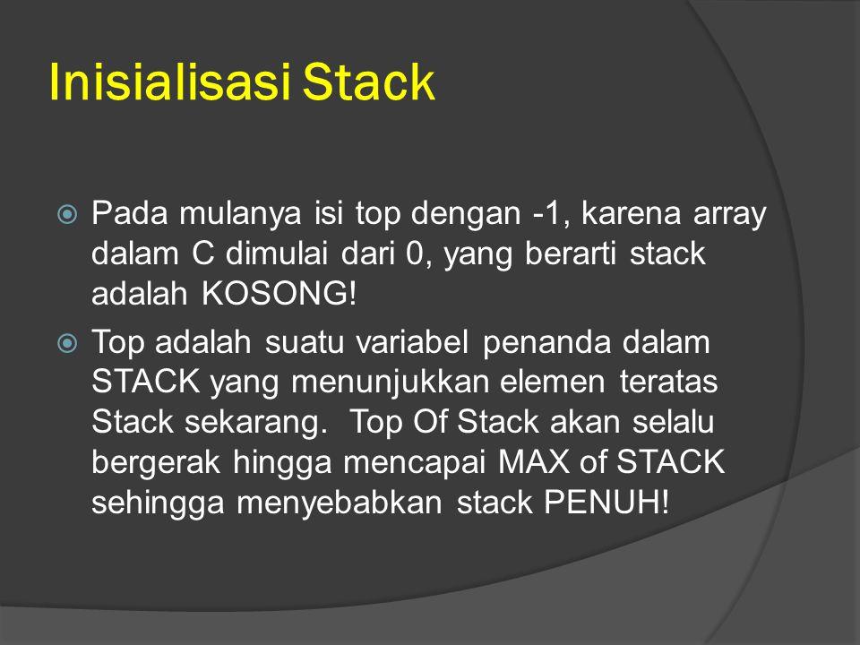 Inisialisasi Stack Pada mulanya isi top dengan -1, karena array dalam C dimulai dari 0, yang berarti stack adalah KOSONG!