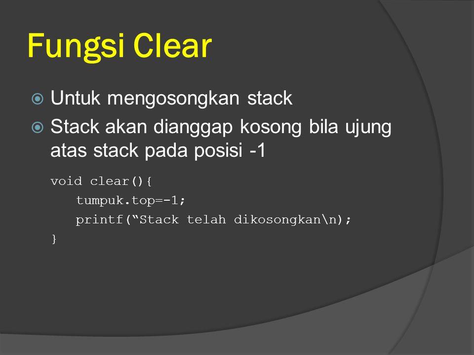 Fungsi Clear Untuk mengosongkan stack