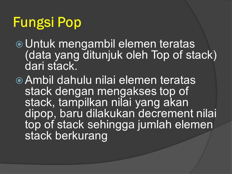 Fungsi Pop Untuk mengambil elemen teratas (data yang ditunjuk oleh Top of stack) dari stack.