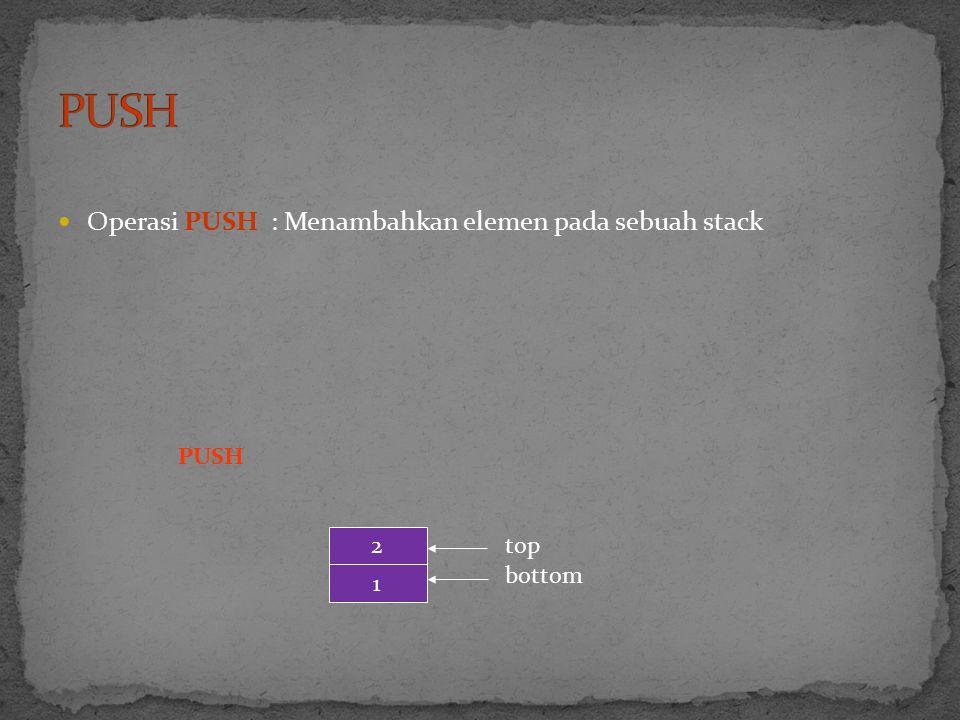 PUSH Operasi PUSH : Menambahkan elemen pada sebuah stack PUSH 2 top