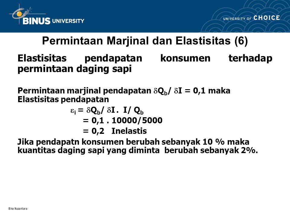 Permintaan Marjinal dan Elastisitas (6)