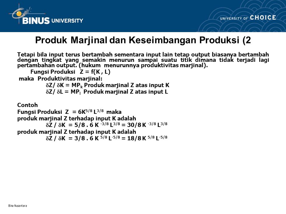 Produk Marjinal dan Keseimbangan Produksi (2