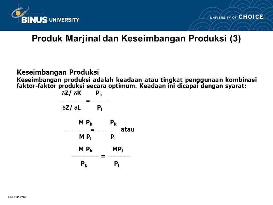 Produk Marjinal dan Keseimbangan Produksi (3)