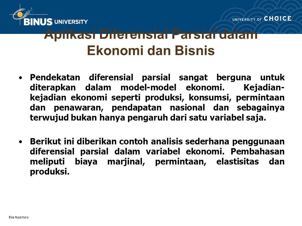 Aplikasi Diferensial Parsial dalam Ekonomi dan Bisnis