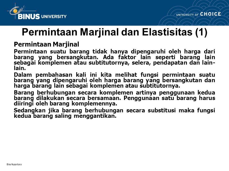Permintaan Marjinal dan Elastisitas (1)