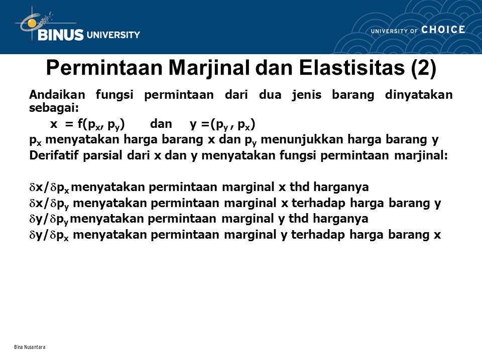 Permintaan Marjinal dan Elastisitas (2)