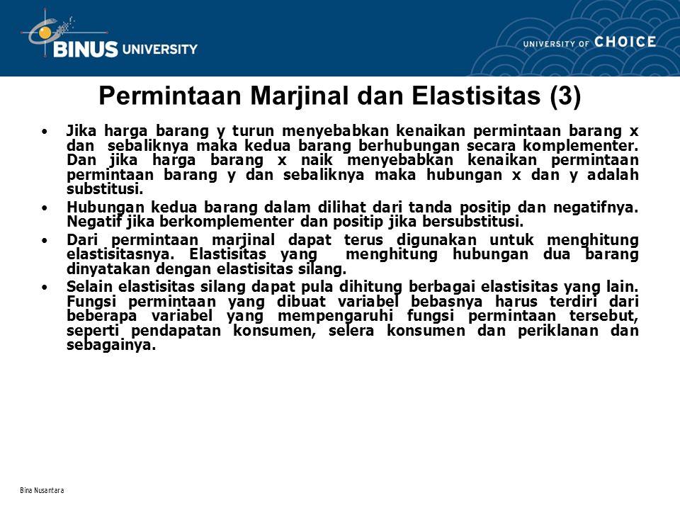Permintaan Marjinal dan Elastisitas (3)