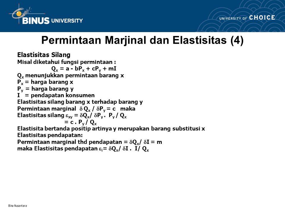 Permintaan Marjinal dan Elastisitas (4)