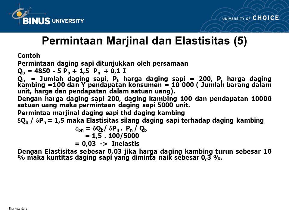 Permintaan Marjinal dan Elastisitas (5)