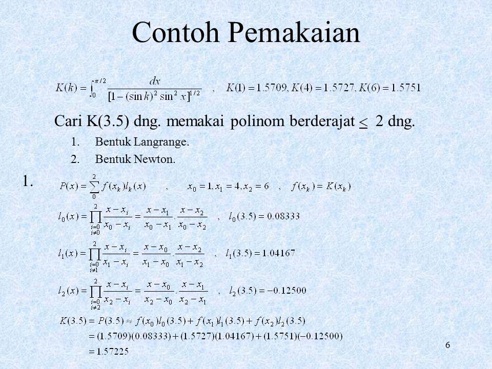 Contoh Pemakaian Cari K(3.5) dng. memakai polinom berderajat 2 dng.