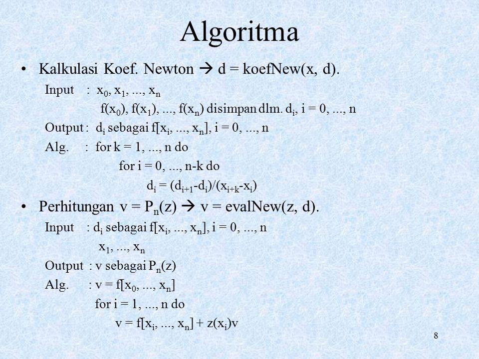 Algoritma Kalkulasi Koef. Newton  d = koefNew(x, d).