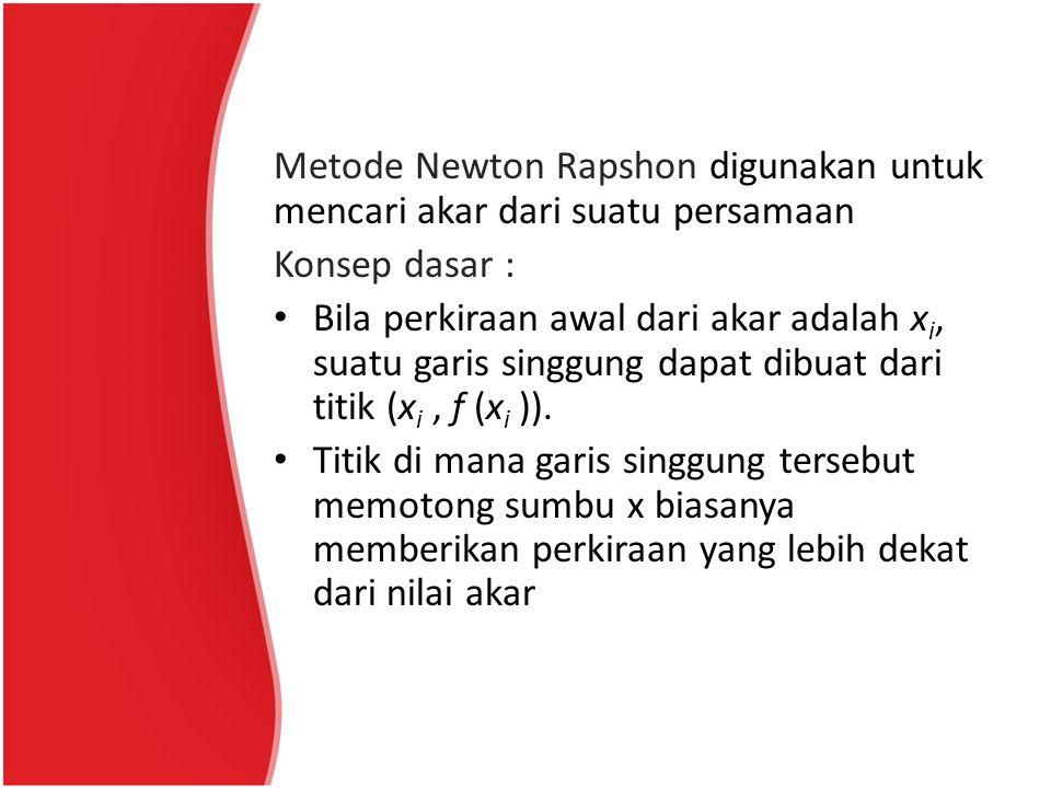 Metode Newton Rapshon digunakan untuk mencari akar dari suatu persamaan