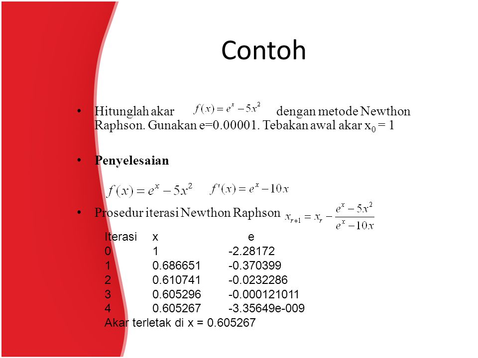 Contoh Hitunglah akar dengan metode Newthon Raphson. Gunakan e=0.00001. Tebakan awal akar x0 = 1.
