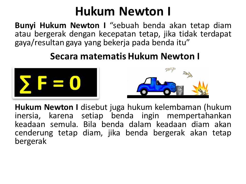Secara matematis Hukum Newton I