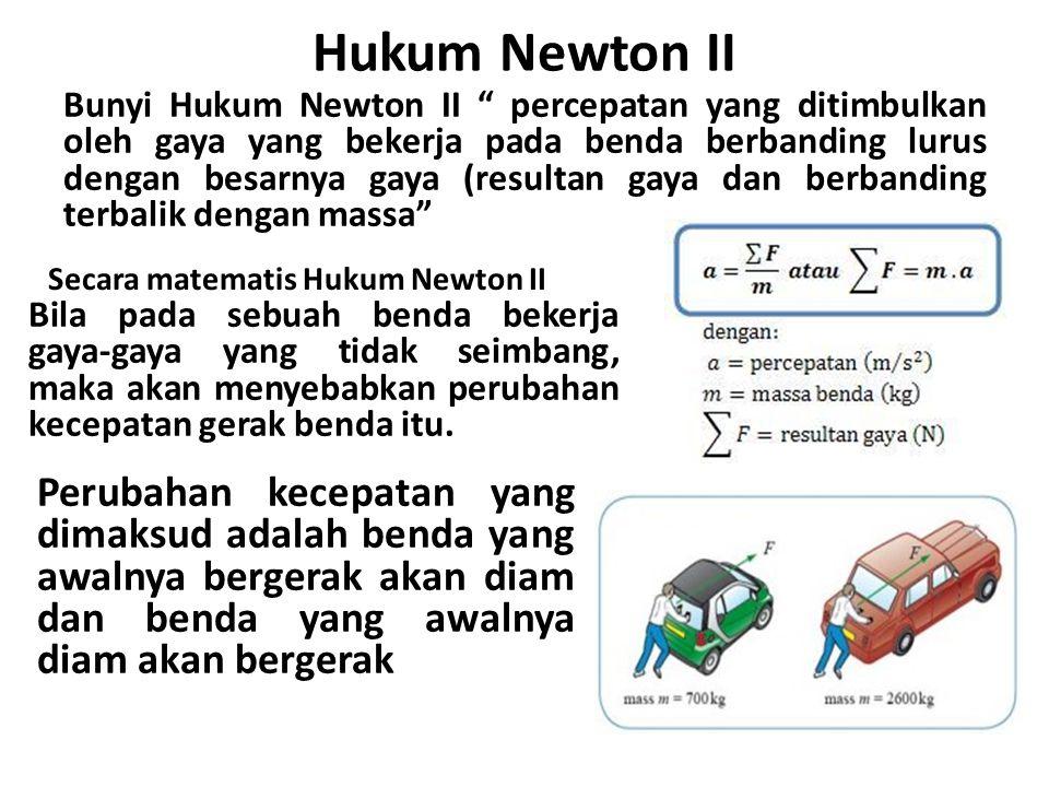Secara matematis Hukum Newton II