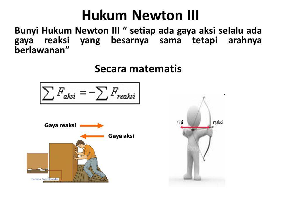 Hukum Newton III Secara matematis
