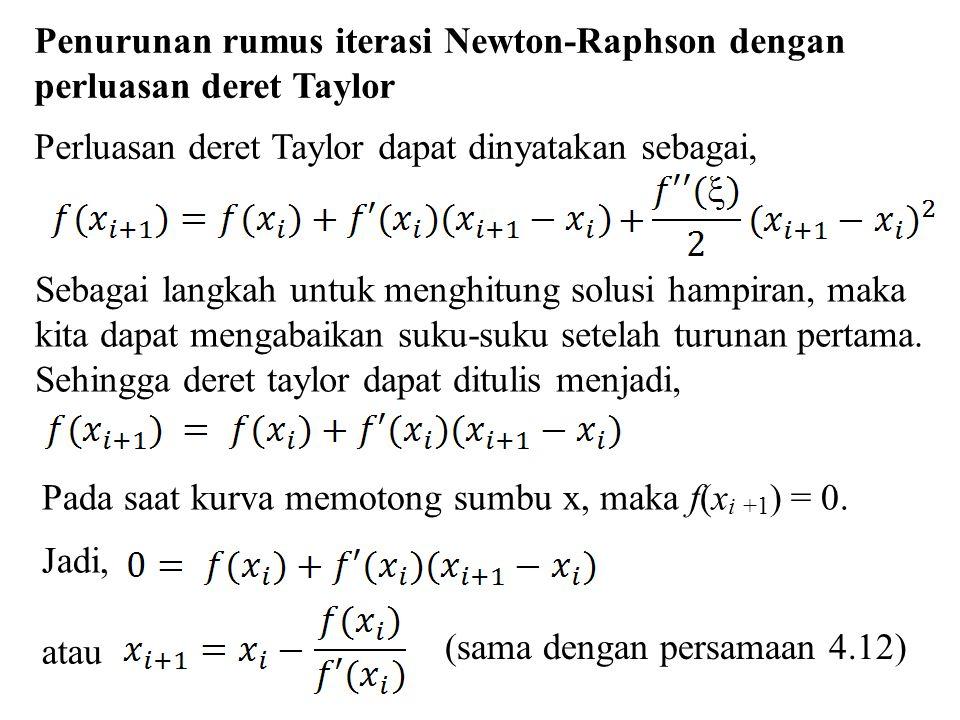 Penurunan rumus iterasi Newton-Raphson dengan perluasan deret Taylor
