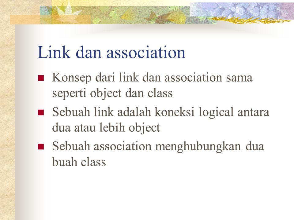 Link dan association Konsep dari link dan association sama seperti object dan class. Sebuah link adalah koneksi logical antara dua atau lebih object.