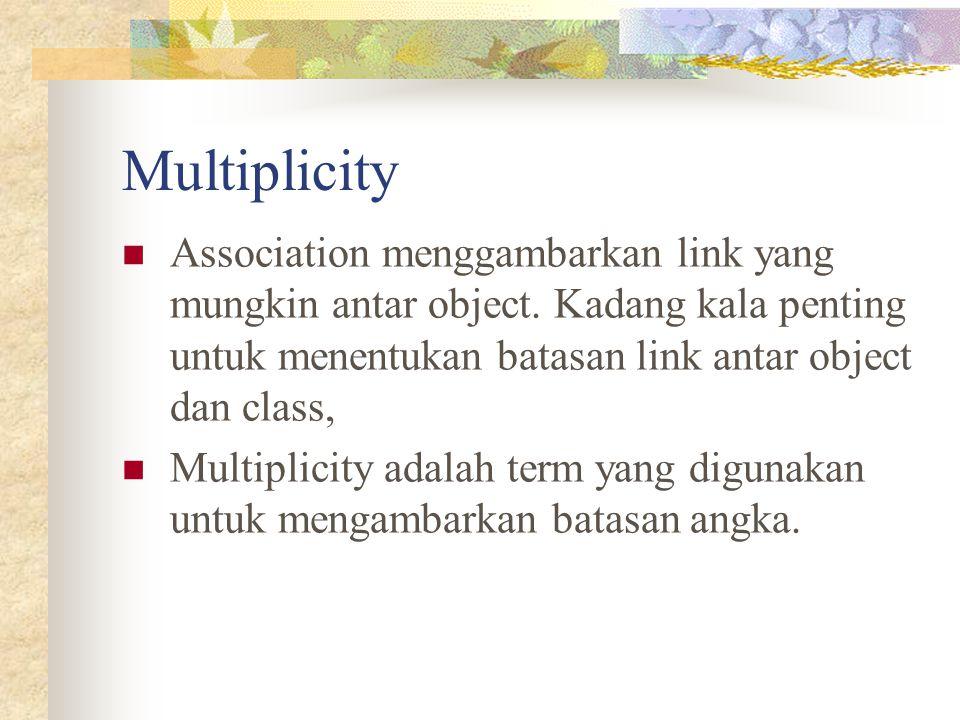 Multiplicity Association menggambarkan link yang mungkin antar object. Kadang kala penting untuk menentukan batasan link antar object dan class,