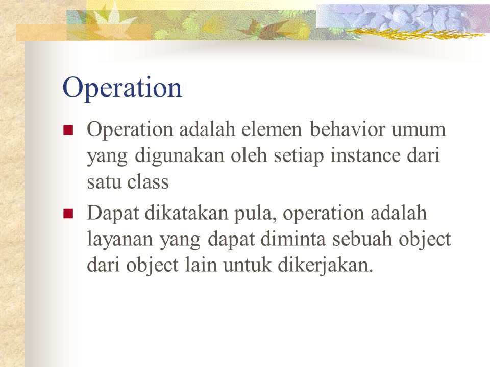 Operation Operation adalah elemen behavior umum yang digunakan oleh setiap instance dari satu class.