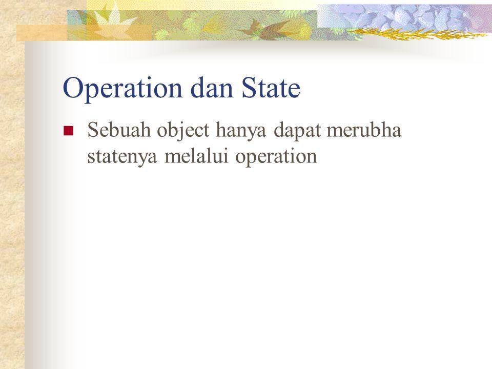 Operation dan State Sebuah object hanya dapat merubha statenya melalui operation