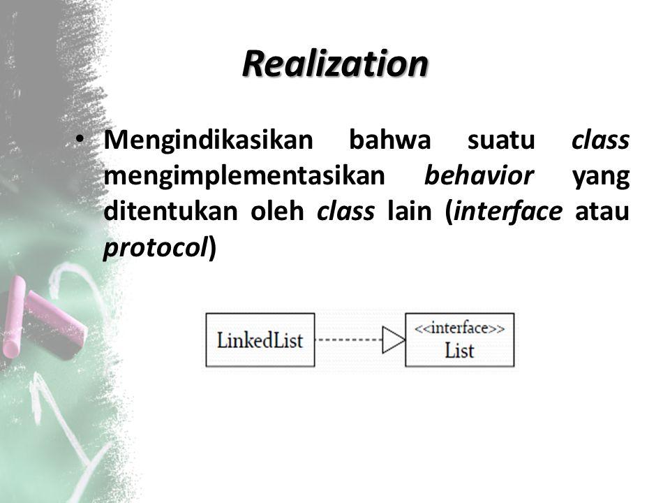 Realization Mengindikasikan bahwa suatu class mengimplementasikan behavior yang ditentukan oleh class lain (interface atau protocol)