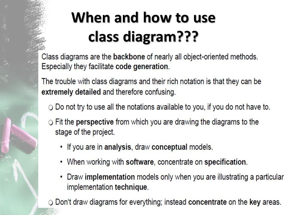 When and how to use class diagram