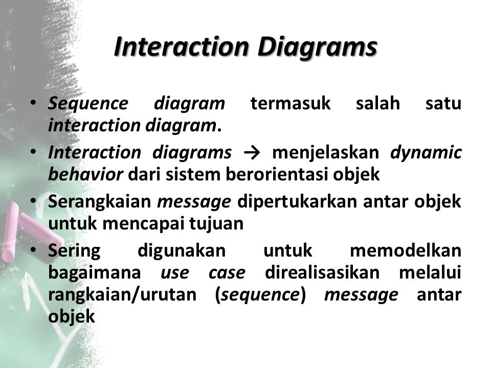 Interaction Diagrams Sequence diagram termasuk salah satu interaction diagram.