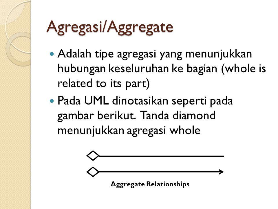 Agregasi/Aggregate Adalah tipe agregasi yang menunjukkan hubungan keseluruhan ke bagian (whole is related to its part)