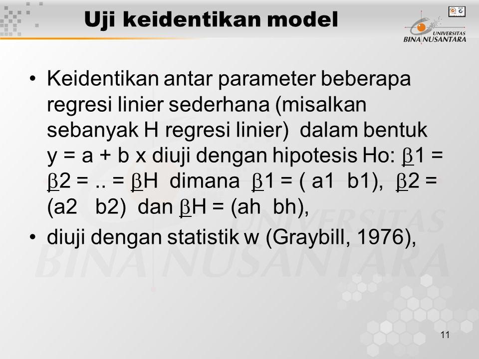 Uji keidentikan model