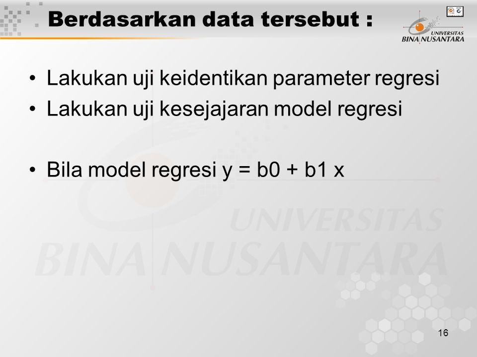 Berdasarkan data tersebut :